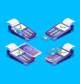 pos terminal payments set isometric vector image