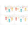 ramadan kareem set color lanterns in the vector image vector image