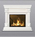realistic 3d classic fireplace with burning fire vector image vector image