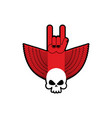 rock hand and skull symbol of music rock and roll vector image vector image
