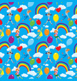 seamless pattern with rainbows clouds colorful vector image vector image