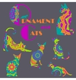 Set of colorful cats with mandala ornament vector image vector image