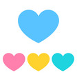 set of heart icon in flat color heart icons vector image vector image