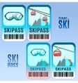 Set of ski pass template design vector image vector image