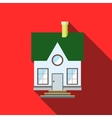Small house with a green roof icon flat style vector image vector image