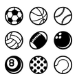 sports balls icons set on white background vector image