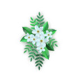 spring white flowers with leaves pattern vector image vector image