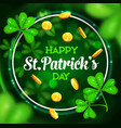 st patrick day shamrock and leprechaun gold coins vector image vector image