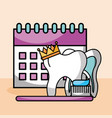 tooth crown brush paste calendar vector image vector image