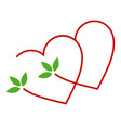 Two hearts with leaves- logo for matrimony vector image vector image