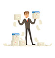 upset businessman holding a lot of documents vector image