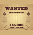 wanted poster vintage western poster with empty vector image