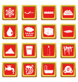 water icons set red vector image vector image