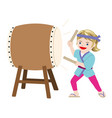 woman performing a japanese traditional drum vector image vector image