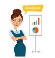 woman stands near flipchart with chart diagram vector image