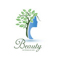 womans head stylized profile with green leaves vector image