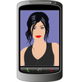 young woman smartphone call vector image