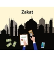 zakat concept moslem islam count counting money vector image vector image