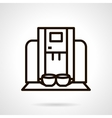 Coffee machine with cups black line icon vector image