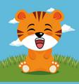 cute tiger animal cartoon vector image