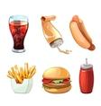 Fast food cartoon icons set vector image