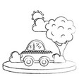 grunge taxi car service in the city with tree vector image