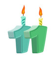 11 years birthday number with festive candle for vector image vector image