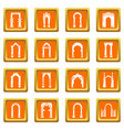 arch types icons set orange square vector image vector image