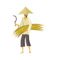 asian farmer in straw conical hat asia rural vector image