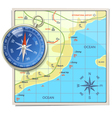 Beach Map with Compass vector image vector image
