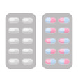 blister packs capsule pills realistic set vector image