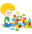 Boy playing with bricks vector image