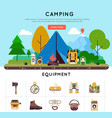 camping banner set vector image vector image
