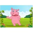 Cartoon big hippo waving vector image vector image
