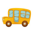 cartoon compact yellow school bus with big windows vector image vector image