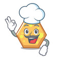 chef hexagon character cartoon style vector image