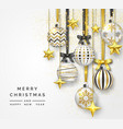 christmas background with shining stars bows vector image