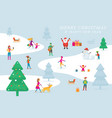christmas people in action activity outdoor vector image vector image