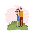 couple of parents with son avatar character vector image vector image