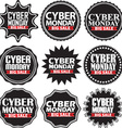 Cyber monday big sale black signs set vector image vector image