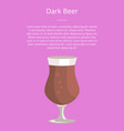 dark beer poster text and tulip glass of beverage vector image vector image