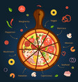 Different ingredients of classical italian pizza