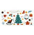 doodle christmas cozy xmas tree with star and vector image vector image