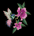 embroidery hummingbird hibiscus vector image vector image
