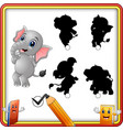 find the correct shadow cartoon funny baby elepha vector image