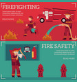 firefighting and fire safety concept banner vector image vector image