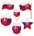 flag of the slovakia performed in defferent shapes vector image vector image
