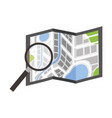 folded map navigation with magnifier search icon vector image vector image