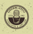 gardening service emblem with cactus vector image vector image