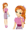 Girl In Pink Bisness Style Dress vector image vector image